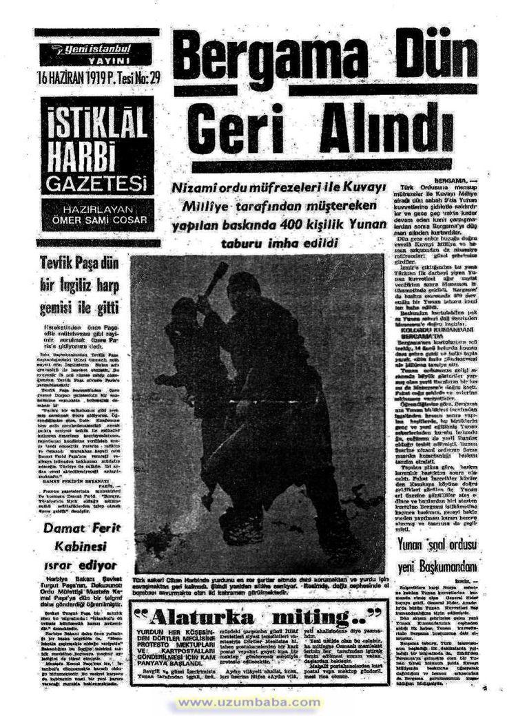 istiklal harbi gazetesi 16 haziran 1919
