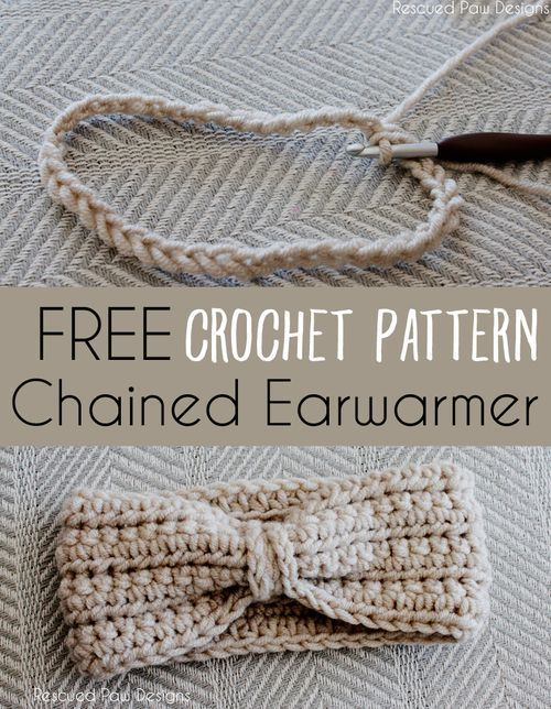 crochet chained ear warmer free pattern | crochet patterns for beginners, see more at http://diyready.com/17-amazing-crochet-patterns-for-beginners