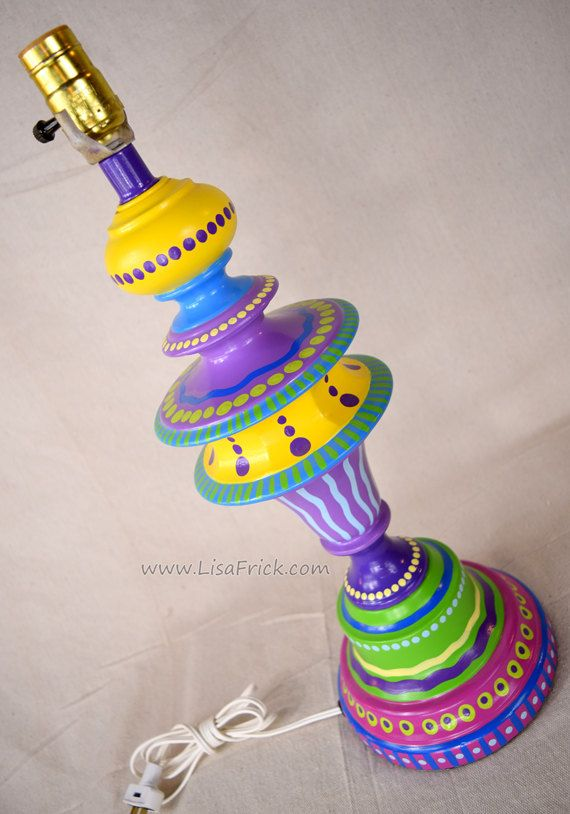 Hand Painted Table Lamp  017- Fun Funky Whimsical and Crazy- FREE SHIPPING! by LisaFrick on Etsy