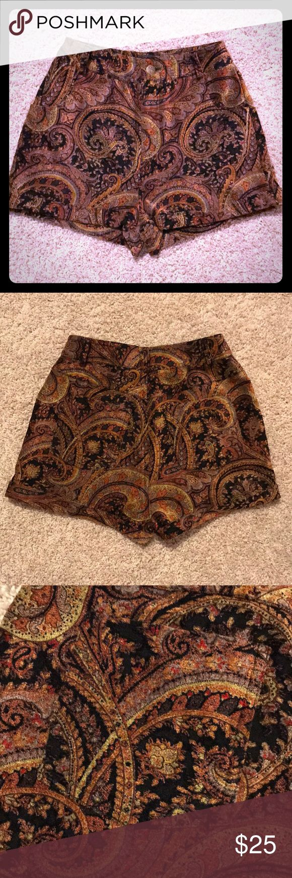 Urban Outfitters MinkPink Paisley Velour Shorts High waisted paisley velour shorts Great paired with tights and boots  MinkPink for Urban Outfitters MINKPINK Shorts