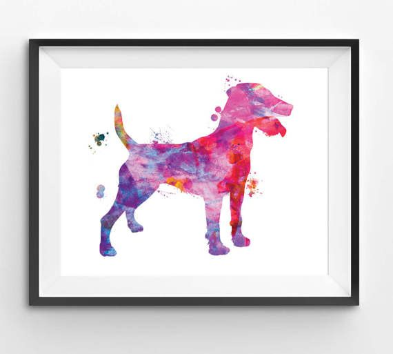 Colorful German Husting Terrier Watercolor Print Dog Print