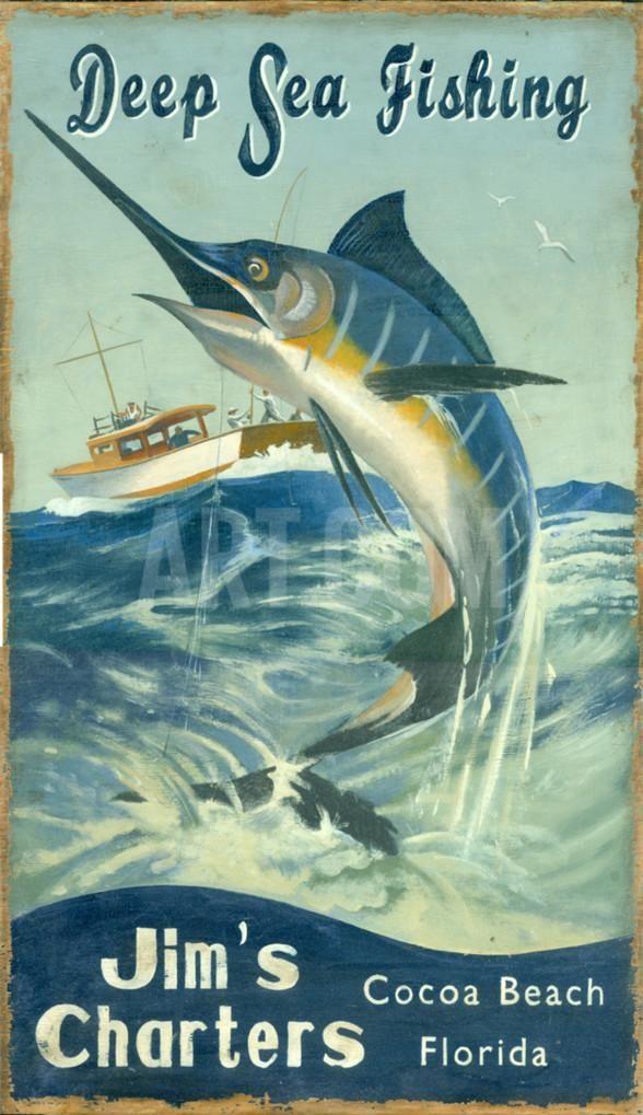Marlin Fishing Vintage Wood Sign at Art.com