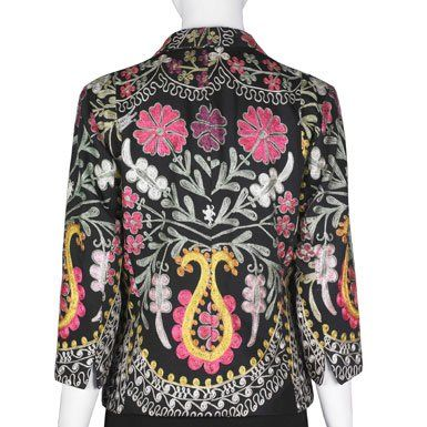 Suzani'' Embroidered Jacket (Black) (Large)||RF10Fhttp://www.vandanahandicrafts.com/