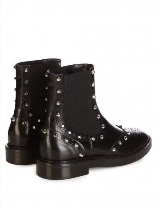 599.99$  Buy here - http://vivkg.justgood.pw/vig/item.php?t=kmeu82p13370 - New in Box - Balenciaga Studded brogue chelsea boots Black Leather with Silver Studs Msrp 1015.00 37.5 us size 7 according to conversion charts