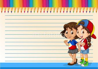 Vector: International girls and line paper