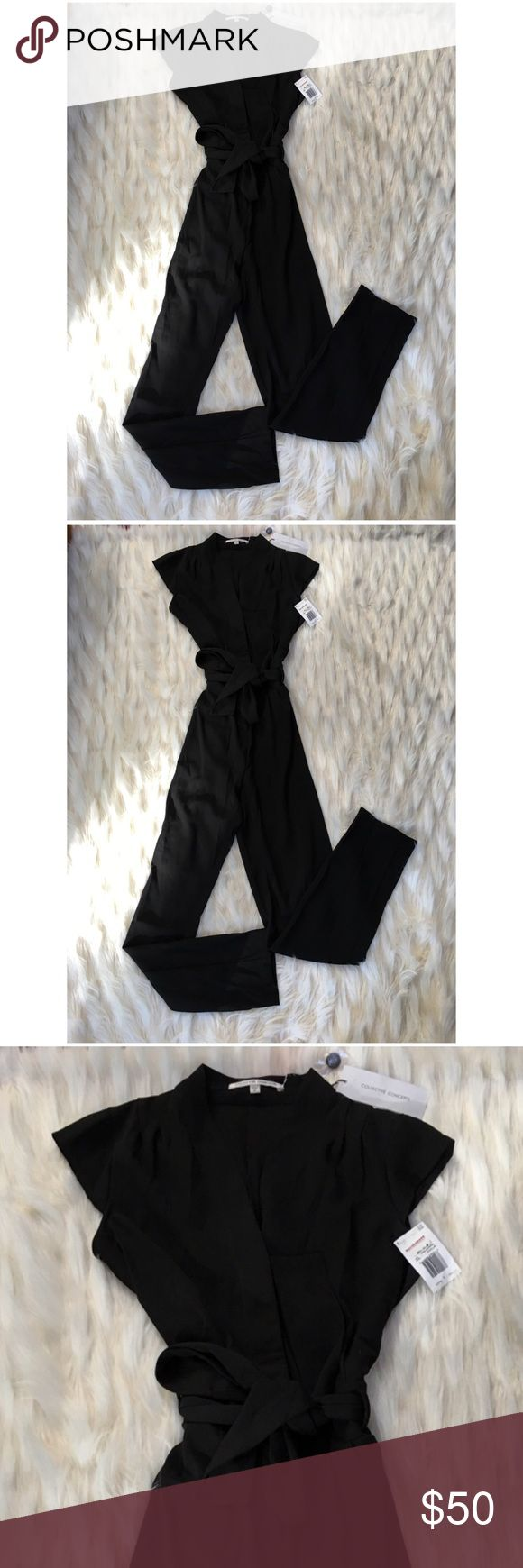 NWT black romper with tie belt Beautiful high quality black romper with cap sleeves and button front/tie belt. Macy's Tags attached. Collective Concepts Other
