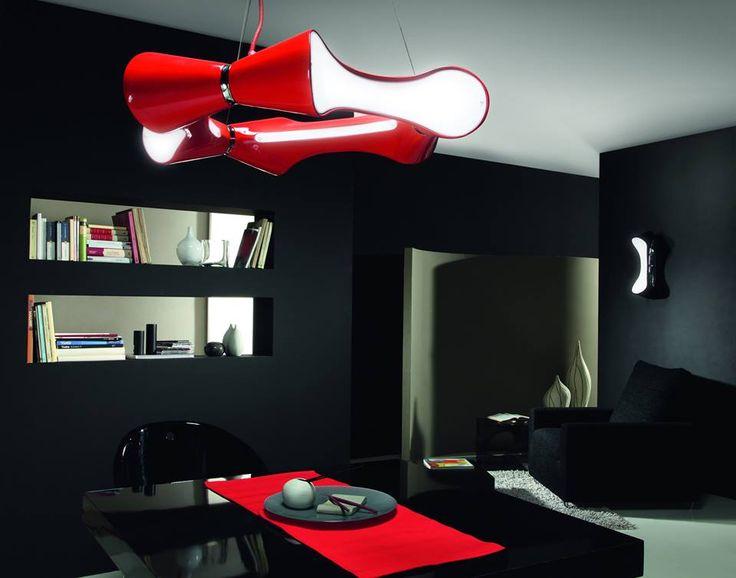 #Red hanging lamp   Arquitectura de iluminacion,  ID LIFE STUDIO WWW.IDLIFE.COM.AR