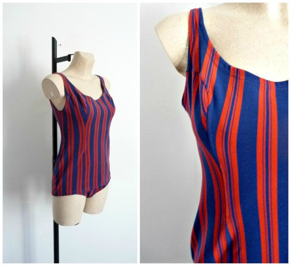 RASUREL Swimsuit Navy Striped Bayadères Red par CeliaVintageStars