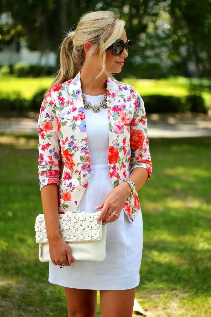 Floral blazer with white streamlined dress.  Simple, versatile, and optimistic.