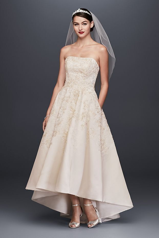 Embroidered Satin High Low Wedding Dress David S Bridal Wedding Dresses High Low Petite Wedding Dress Short Wedding Dress