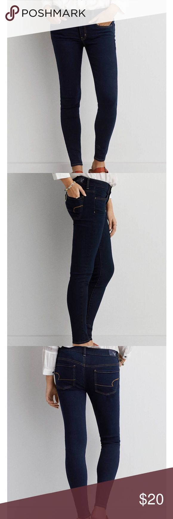 """American eagle super stretch jean Super stretch jegging , dark blue size 2 short . Super Stretch denim Legging-like fit Low 8.75"""" front rise Higher 14 1/8"""" back rise Skinniest 9.75"""" leg opening Extended sizes available online 55% Cotton, 18% Polyester, 18% Tencel, 8% Viscose, 1% Elastane Machine Wash American Eagle Outfitters Jeans Skinny"""