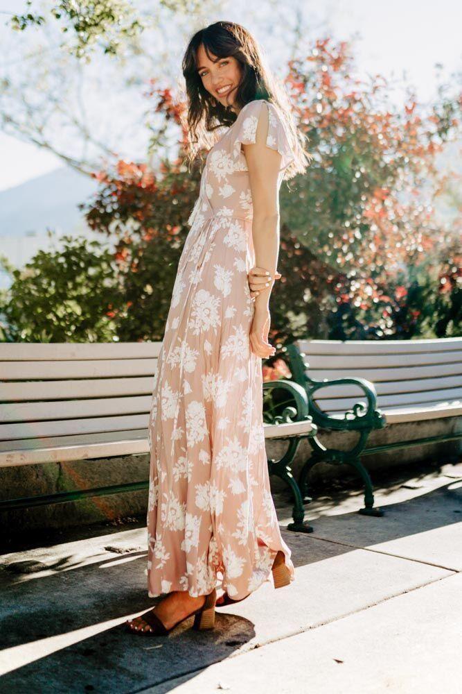 423e94586e9 Amara Floral Flutter Sleeve Wrap Maxi Dress in Mauve   F A N C Y ...