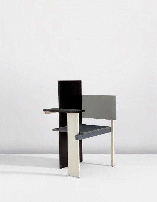 Gerrit Rietveld : 'Berlin' chair. Black and white geometrical 3D chair.