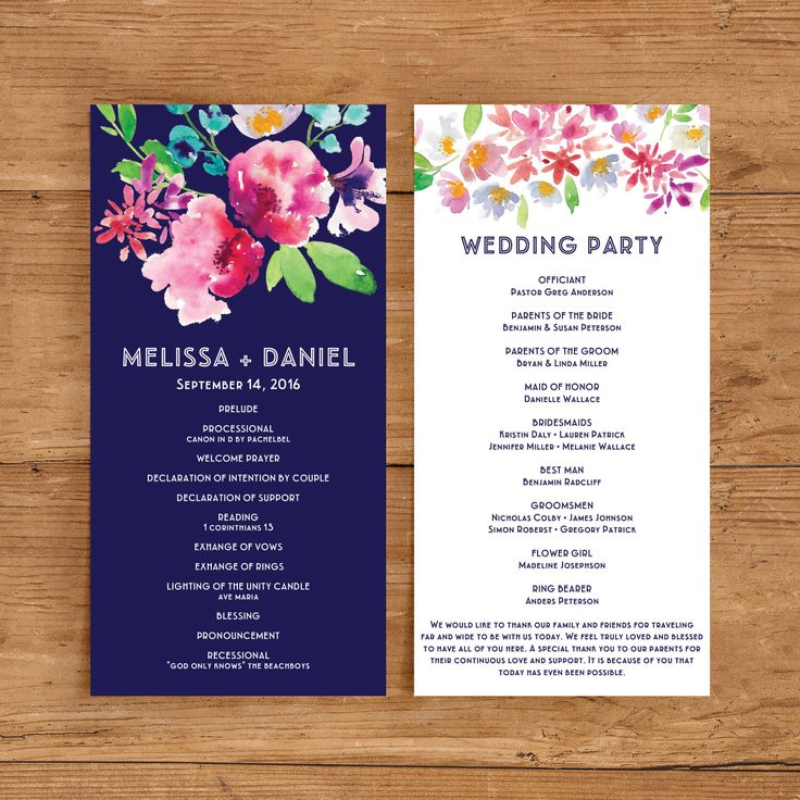 Printable Wedding Program Template | Floral Ceremony Program | Watercolor flower | Flower | Navy and Pink | Modern | Ceremony Program by JazzHandsPaperCo on Etsy https://www.etsy.com/listing/263491620/printable-wedding-program-template