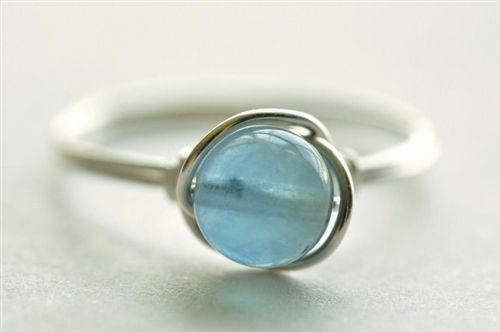 OCEAN DROP blue fluorite wire wrap ring - by muyinjewelry.com