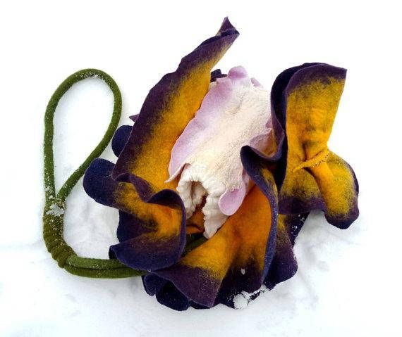 Felted Bag Flower Bag Iris Bag Felted Handbag Flower Purse