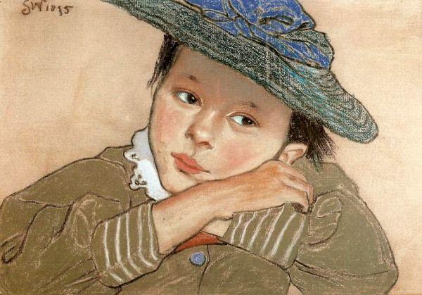 """Stanisław Wyspiański """"Dziewczynka w niebieskim kapeluszu"""", 1895 (Muzeum Narodowe w Krakowie)"""