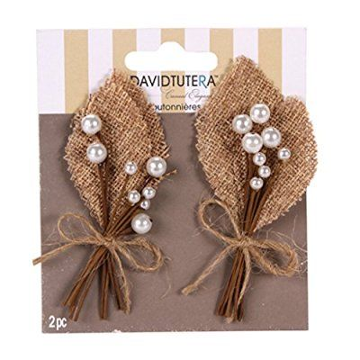 4 Burlap Pearl Wedding Prom Homecoming Boutonnieres