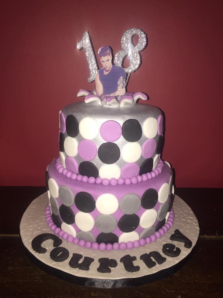 Two tier Justin Bieber 18th birthday cake