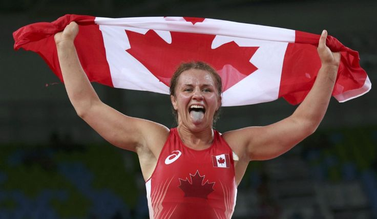 Erica Wiebe of Canada celebrates winning the gold medal in wrestling at the Rio Olympics.