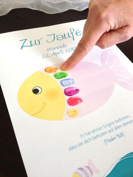 Fingerprint-Gästeplakat zur Taufe - Fisch