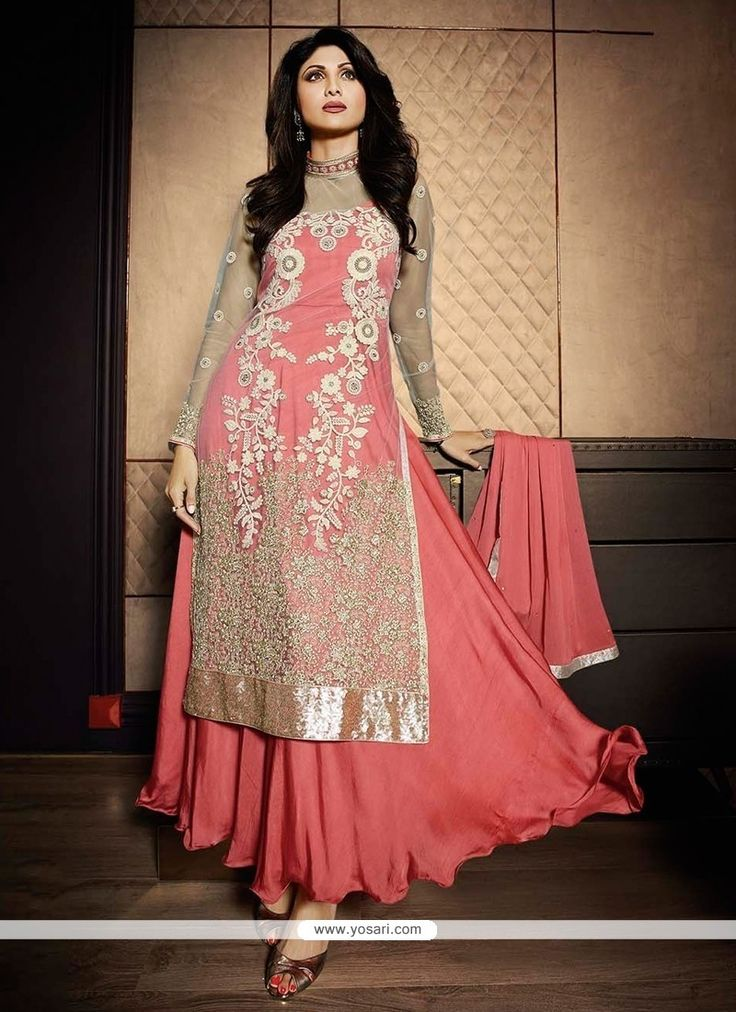 Shilpa Shetty Pink Embroidered Work Designer Salwar Suit Model  YOS3658