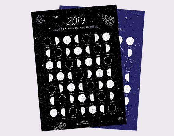 Calendrier Avec Les Lunes.Calendrier Lunaire 2019 Phases De Lune Carte A5 Moon