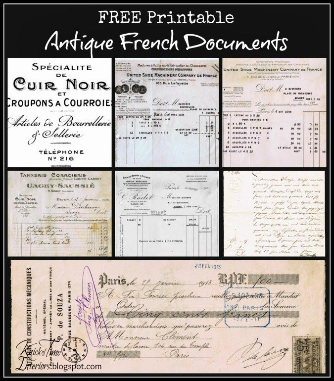 Free Printables - Antique French Documents ~ from Knick of Time @ knickoftime.net