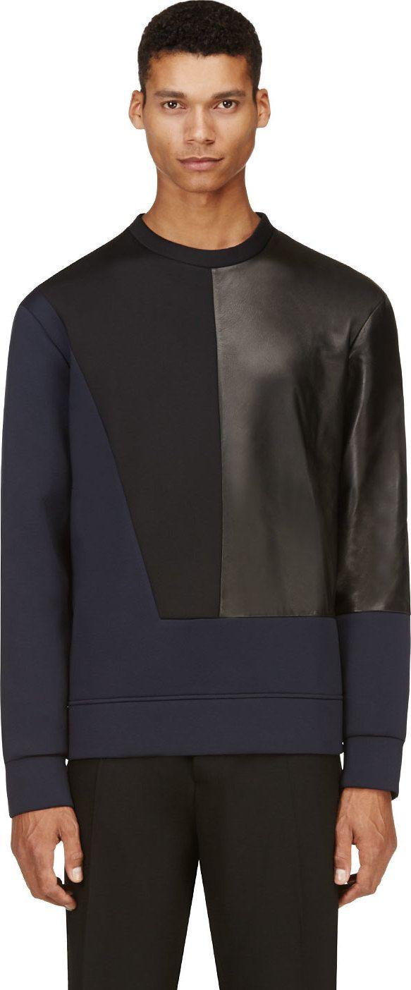 Costume National - Navy & Black Neoprene Pullover