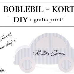 { Boblebil-kort til gratis print! Kjempesøte til invitasjon, takkekort eller dåpskort }