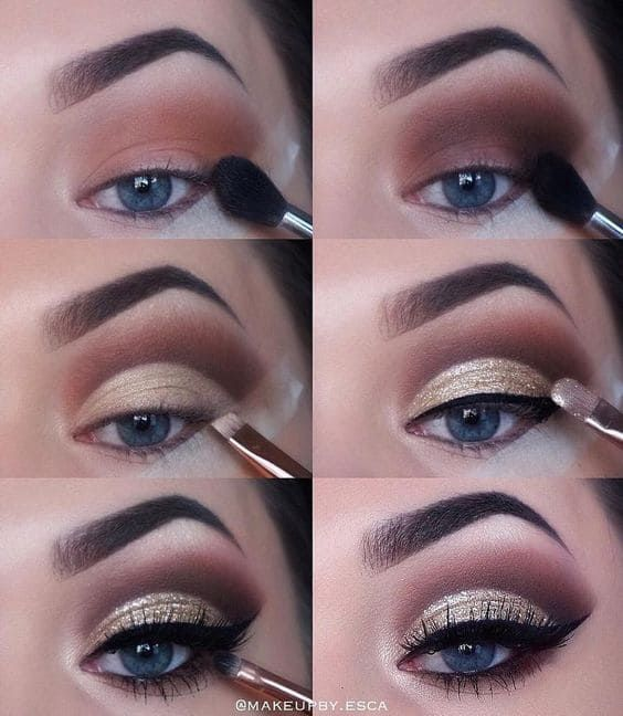 Maquillaje de noche elegante. Tutorial paso a paso   Central Makeup Wedding Makeup Tips, Natural Wedding Makeup, Eye Makeup Tips, Makeup Goals, Skin Makeup, Makeup Inspo, Eyeshadow Makeup, Natural Makeup, Makeup Inspiration