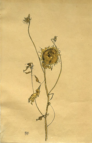 "Egon Schiele. Wilted Sunflower. 1912. Gouache and pencil on paper. Signed and dated, lower left. 17 3/4"" x 11 3/4"" (45 x 29.9 cm). Kallir D. 1212. Private collection, courtesy Galerie St. Etienne, NY."