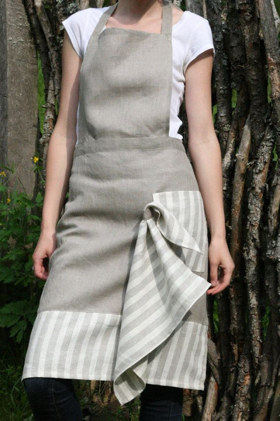Pure Linen Full Apron & Kitchen Towel by LGlinenhome on Etsy