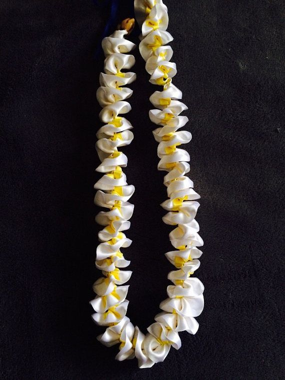 Hawaiian Plumeria Ribbon Lei  Graduation Lei  Great by MaukaLeis