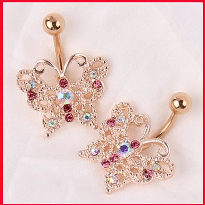 Top Quality Dangle Belly Button Ring 14G Rose Gold belly bar Body Jewelry Butterfly Navel Piercing For Sexy Women Luxury bijoux