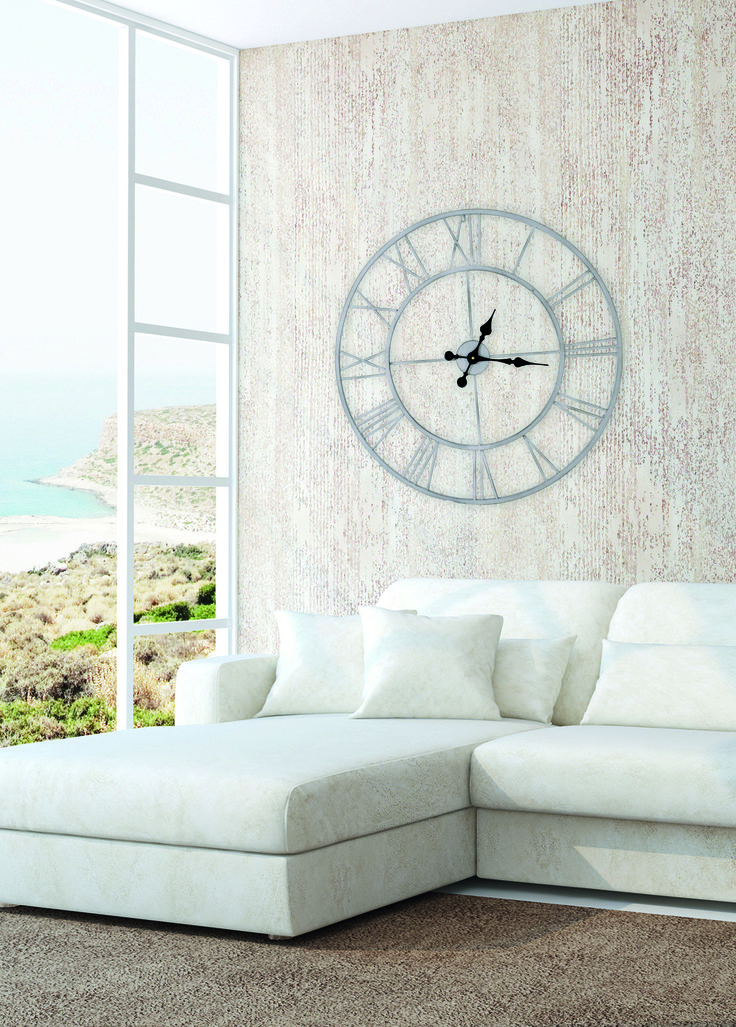 Horloge murale en métal ronde ajourés grise D.80cm | Emdé