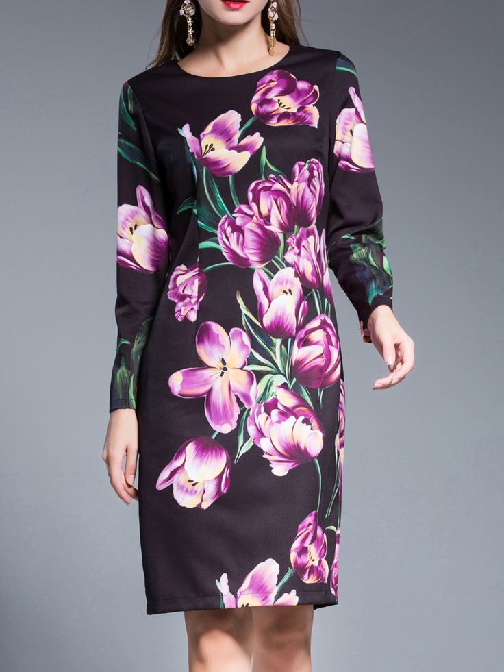 Buy it now. Purple Flowers Print Sheath Dress. Purple Round Neck Long Sleeve Cotton Blends Sheath Short Print Fabric has no stretch Fall Casual Day Dresses. , vestidoinformal, casual, camiseta, playeros, informales, túnica, estilocamiseta, camisola, vestidodealgodón, vestidosdealgodón, verano, informal, playa, playero, capa, capas, vestidobabydoll, camisole, túnica, shift, pleat, pleated, drape, t-shape, daisy, foldedshoulder, summer, loosefit, tunictop, swing, day, offtheshoulder, smock,...