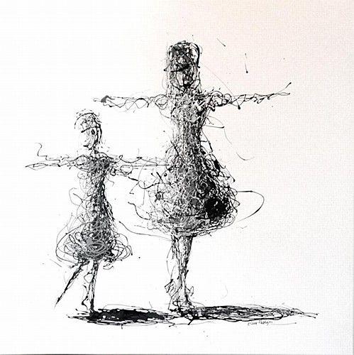 "Clare Hartigan, ""Teach Me"" #art #dance #dancing #teach #teacher #blaclandwhite #splatter #paintdrips #painting #pollock #DukeStreetGallery"