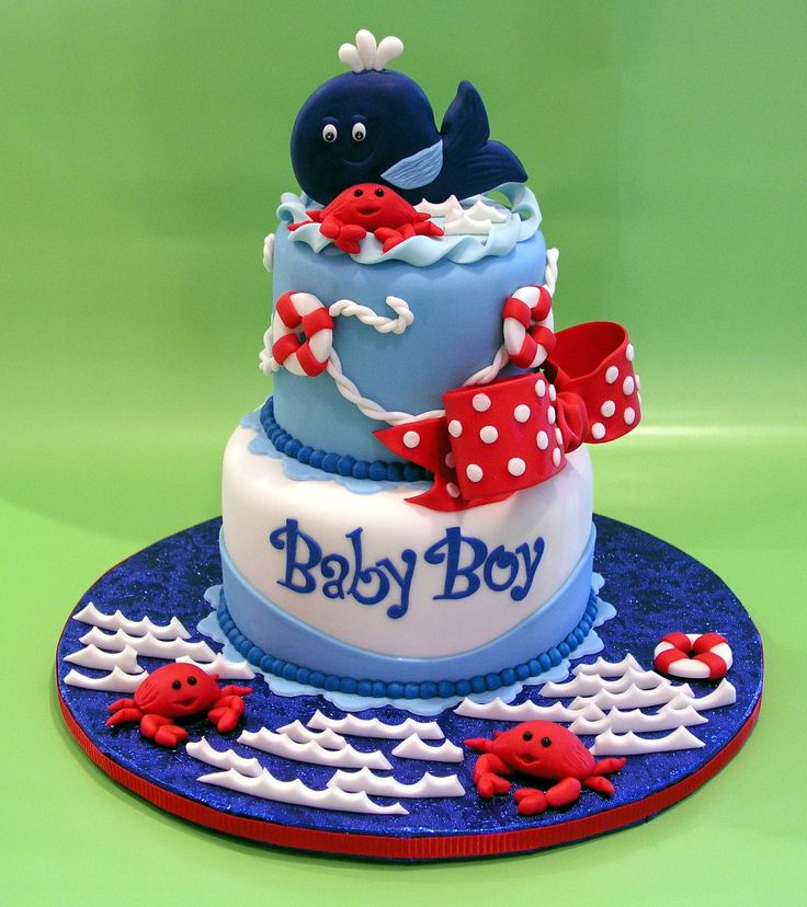 Pin Whale Themed Baby Boy Shower Cake Sugarswirls On Pinterest