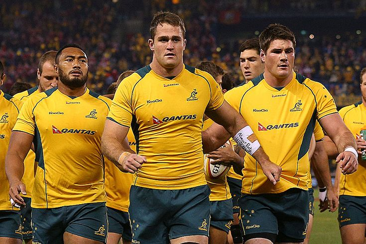 James Horwill leads the Wallabies from the field after warming up