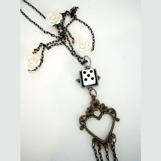 """TAKE A CHANCE ON LOVE ...  76cm Necklace - Flowers, Dice. VALENTINES DAY in a few weeks. TAKE A CHANCE ON LOVE! Interesting necklace with a fun quirky theme. Hearts, Flowers and Dice. The chain is a gorgeous matte black with facets of shiny gold.  76cm / 30"""" with 15cm / 6"""" dangle.  Hand Crafted """"One of a Kind""""."""