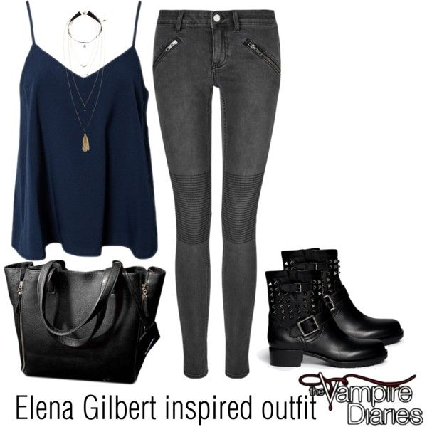 Elena Gilbert inspired outfit/TVD by tvdsarahmichele on Polyvore featuring NLY Trend BLK DNM ...