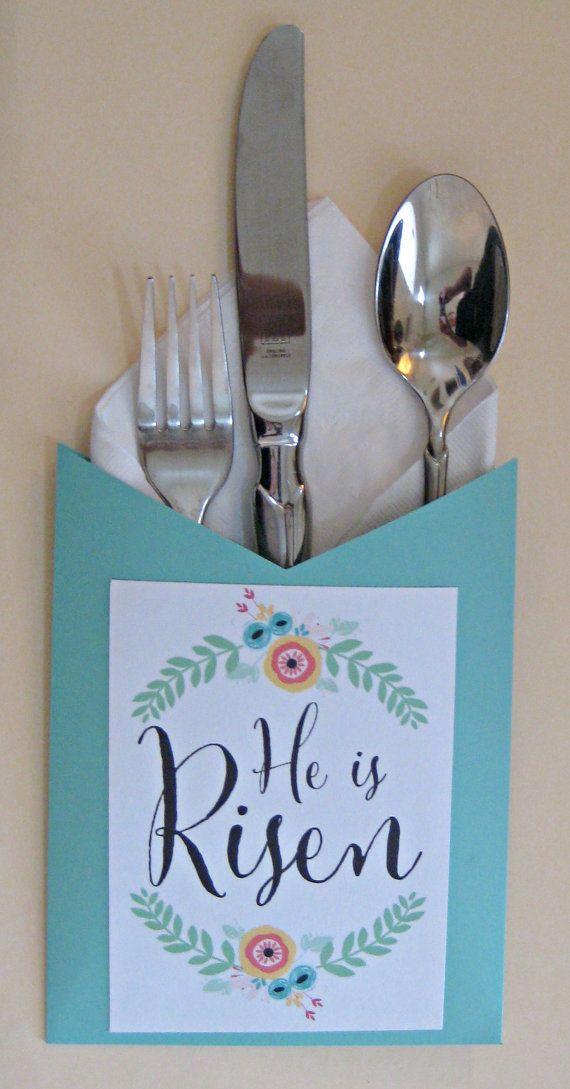 Easter Napkin Holder Tablescape He Is Risen Christian Inspirational Religious Decor Silverware Spring