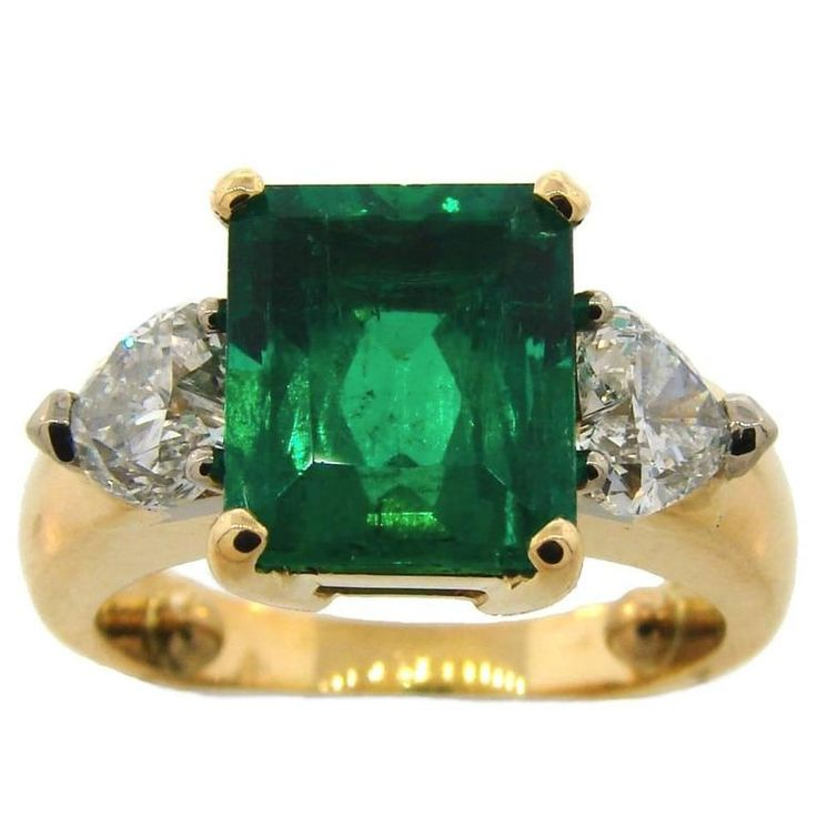 3.71 Carat Colombian Emerald GIA Diamond Yellow Gold Three-Stone Ring | From a unique collection of vintage three-stone rings at https://www.1stdibs.com/jewelry/rings/three-stone-rings/