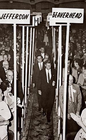 1960. 27 Juin. JFK addressed the Montana State Democratic Convention in Helena, and attended other events at the Marlow Theater and Civic Center. Helena, Montana