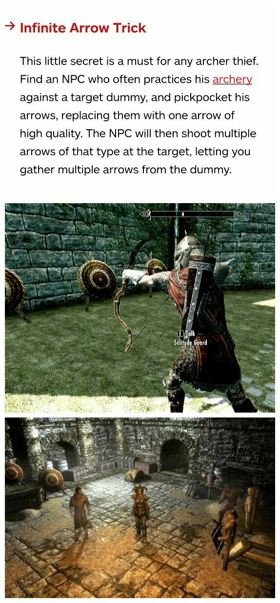 Skyrim secrets: infinite arrow trick