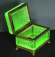 A Baccarat box of uranium glass: glass which has had uranium, usually in oxide diuranate form, added to a glass mix before melting.