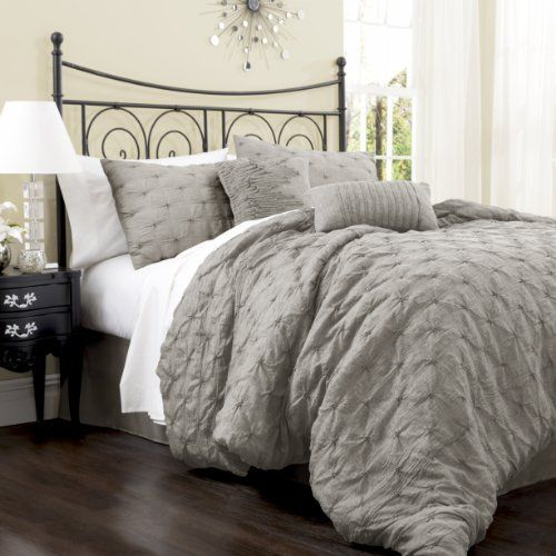 Lush Decor Lake Como 4-Piece Comforter Set, Queen, Grey by Lush Decor, http://www.amazon.com/dp/B00DOPGQXI/ref=cm_sw_r_pi_dp_YWgosb1R639V9
