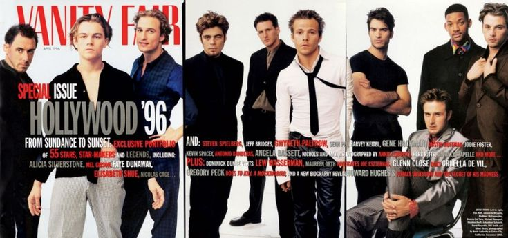 1996 Hollywood Issue  From left: Tim Roth, Leonardo DiCaprio, Matthew McConaughey, Benicio Del Toro, Michael Rapaport, Stephen Dorff, Johnathon Schaech, David Arquette, Will Smith, and Skeet Ulrich.