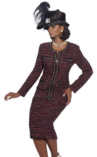 Special Occasion Fall Suit By Donna Vinci In Boucle Knit